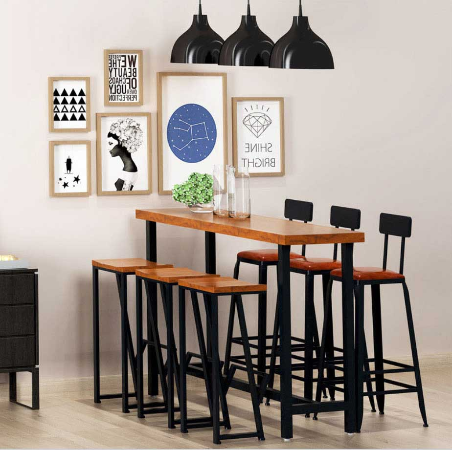 Bar table in solid wood with 6 chairs