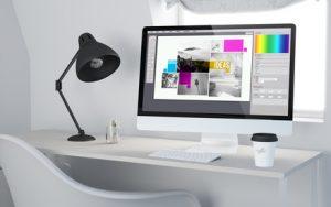 3d desktop workspace rendering graphic design