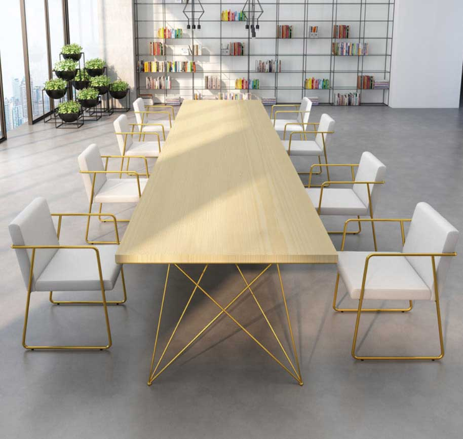 Modern meeting table with W legs