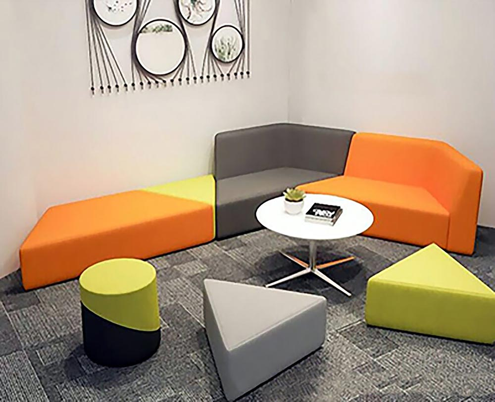Modular seating with odd shaped pieces