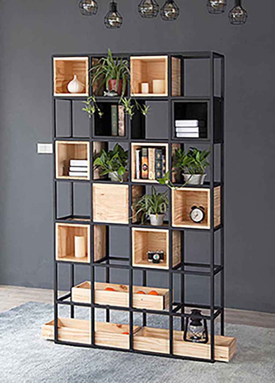 Steel shelves with wooden boxes